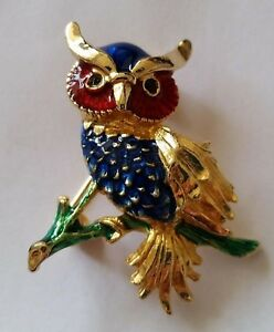 Vintage-Enamelled-Gold-Plated-Owl-on-branch-Brooch-red-blue-green