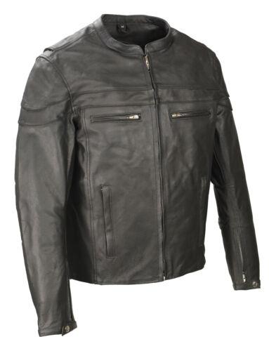 Gun Pockets  EL1408 Reflective Piping Mens Black Scooter Collar Leather Jacket