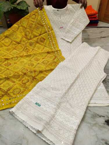 Pure cotton chikan work top with beautiful handwork raw silk single color duptta
