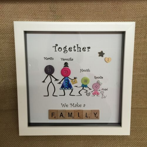 Personalised Box Frame Family Button Heads Scrabble Christmas Gift Buttons .