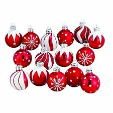 NEW Medallion Collection Red  White Glitter Decorated Glass Ball Ornaments 15