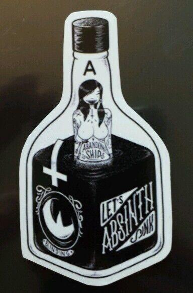 Bottle absinth woman inside Sticker tablet laptop guitar 039