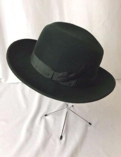 Vtg Mens Fedora Hat GREEN Felt Trilby Whippet Play