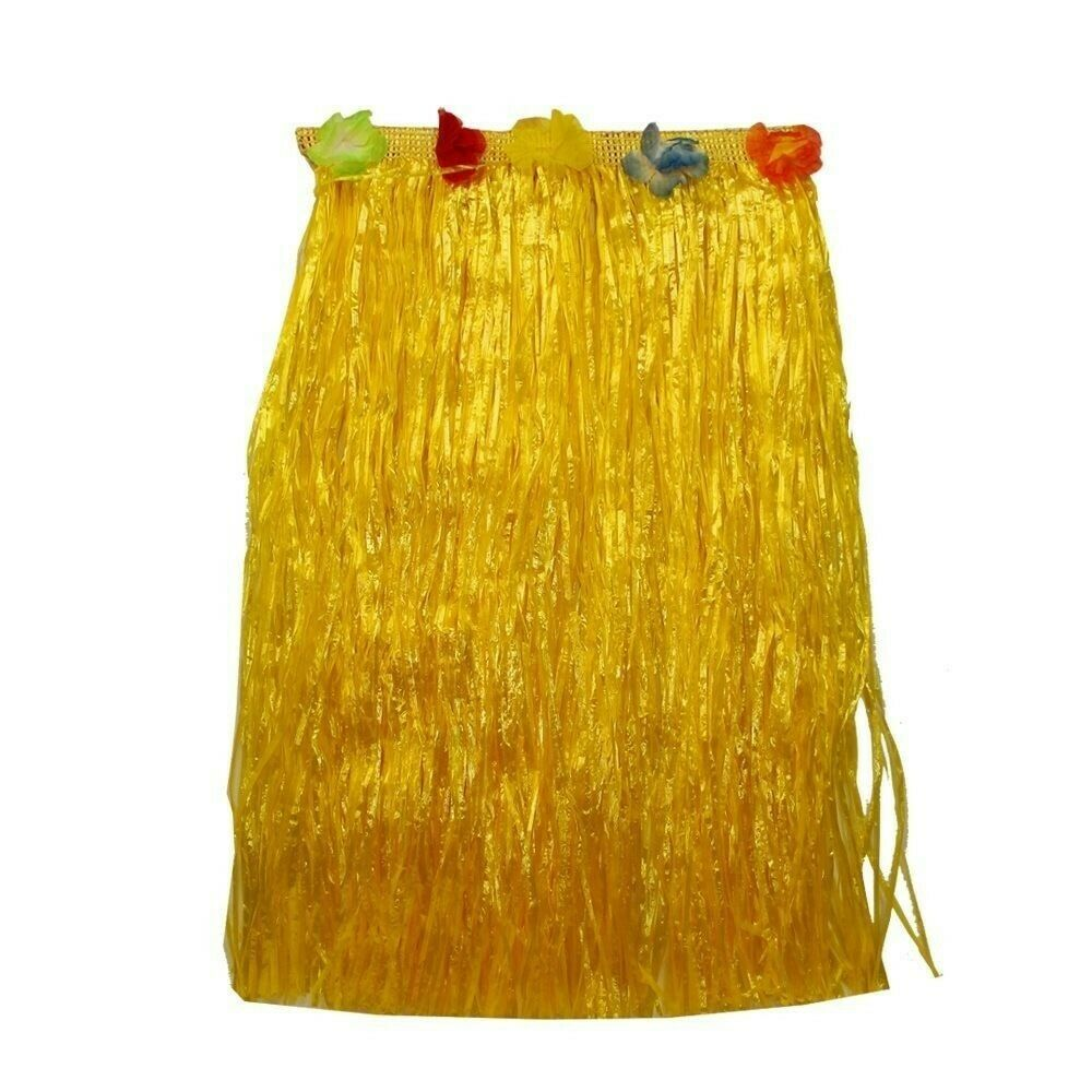 2 x 60cm Yellow Hawaiian Tropical Hula Grass Skirts with Flowers Theming