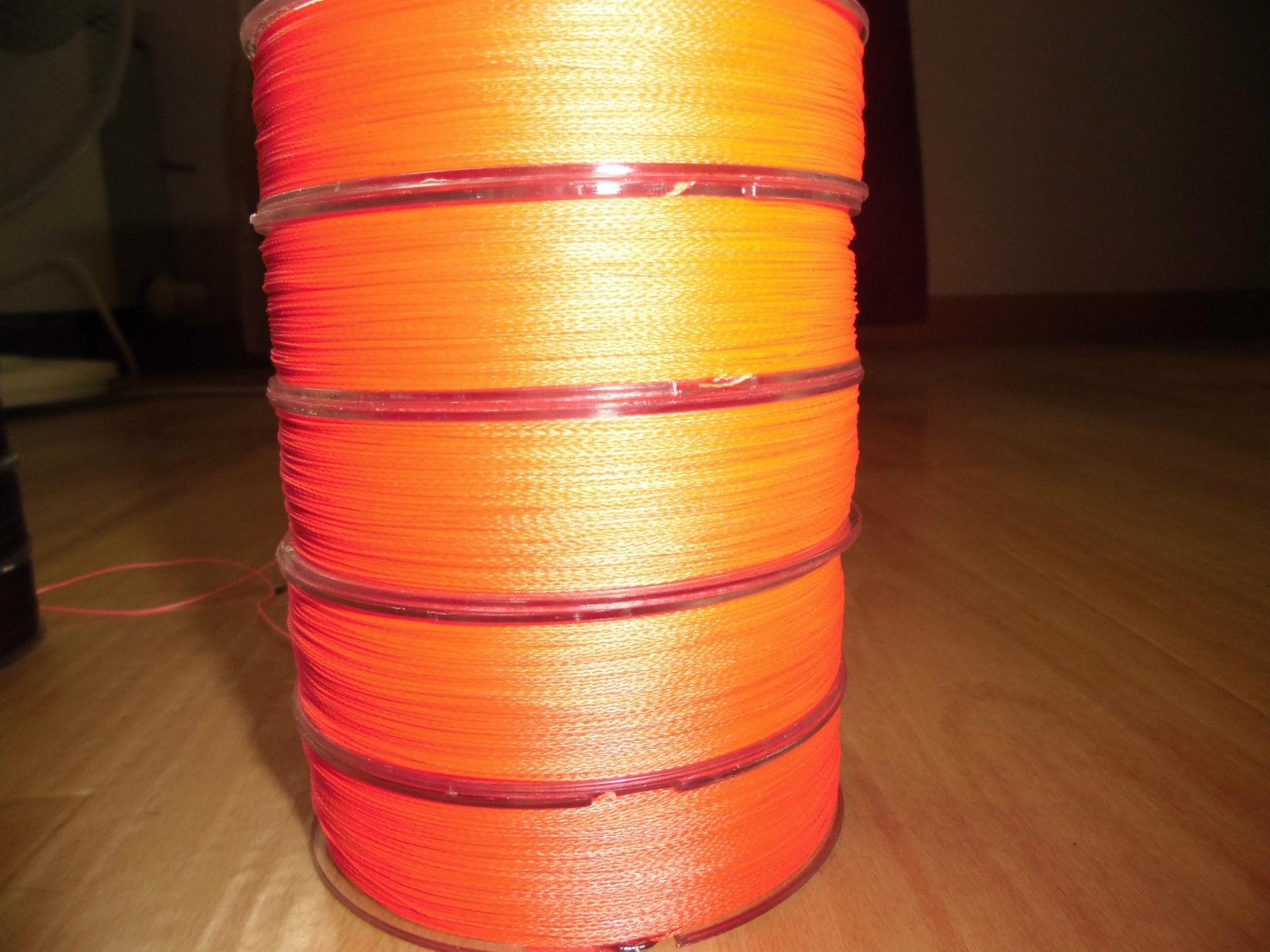 1000m Dyneema Angelschnur 0,10- 0,35 mm 4-fach rundgeflochten     m Orange 6b4ae4