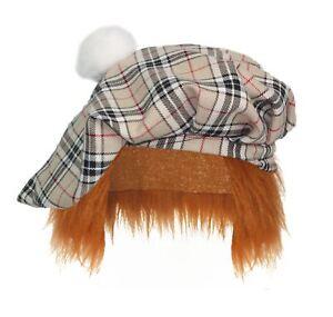Thompson-Camel-Tartan-Tam-039-O-039-Shanter-With-Hair-Scottish-Highland-Fancy-Dress