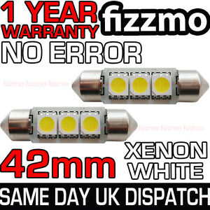 2x-42mm-NUMBER-PLATE-INTERIOR-6000k-BRIGHT-WHITE-3-SMD-LED-C5W-264-FESTOON-BULB