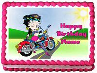 Betty Boop Motorcycle Biker Image Edible Cake Topper Sheet