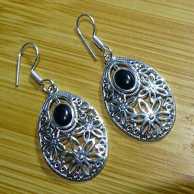 Black Onyx Sterling Silver Overlay Earring 1.75 Handmade Jewelry Latest Design