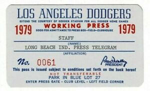1979-Los-Angeles-Dodgers-Working-Press-pass-Baseball-Qty-2
