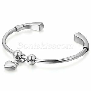 Women-Silver-Tone-Stainless-Steel-Heart-Charm-Open-End-Bangle-Bracelet-For-Gift