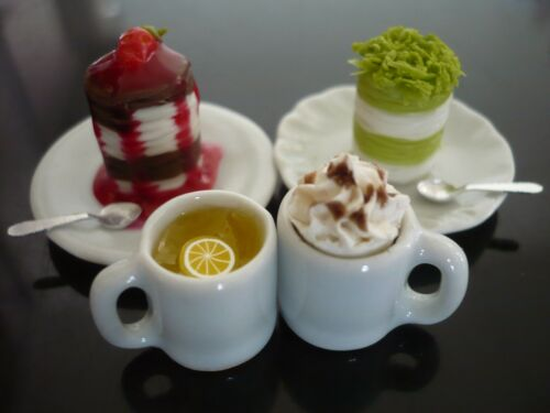Set of Coffee and Crepe Cake Dollhouse Miniatures Food Bakery Yummy-1
