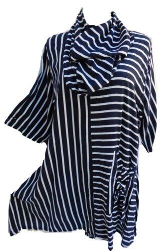 LABASS  Shirt Tunika Schal blau weiß gestreift Viskose Streifen XXL 52 54