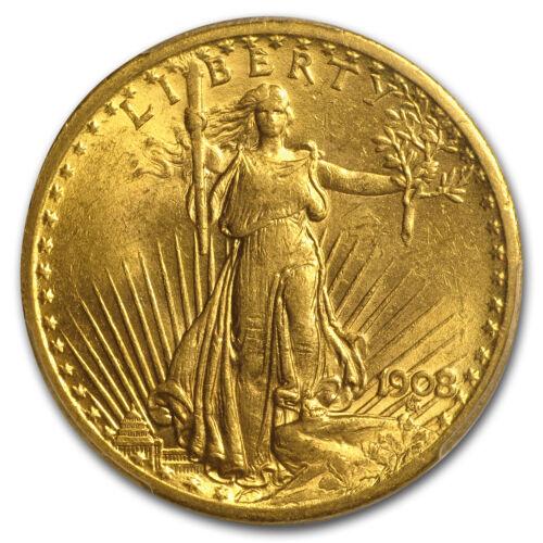 1908 $20 St Gaudens Dbl Eagle No Motto BU PCGS Prospector Label