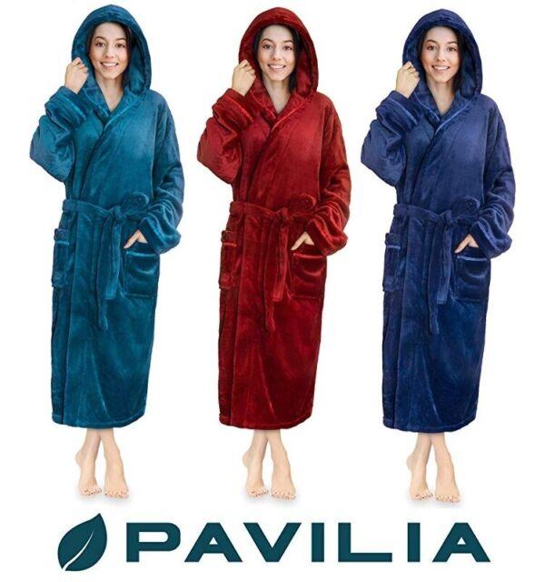 Long Robes For Women Kimono Luxurious Soft Plush Fleece Spa Bathrobe Hooded Pj