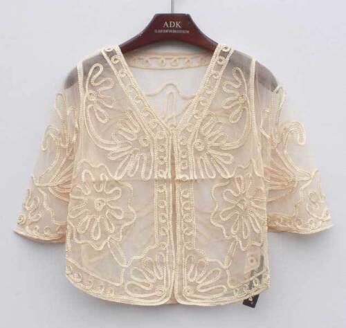 Sheer Bolero Shrug Handcraft Jacket Top Lace 8-14 Wedding Short Sleeve Floral NR