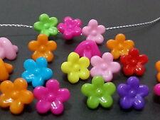 100 cute Flowers  Multicolor acrylic plastic loose beads