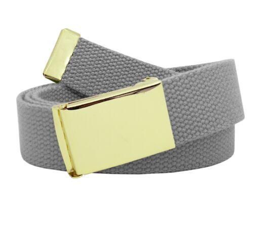 Men/'s Gold Brass Military Flip Top Belt Buckle with Canvas Web Belt