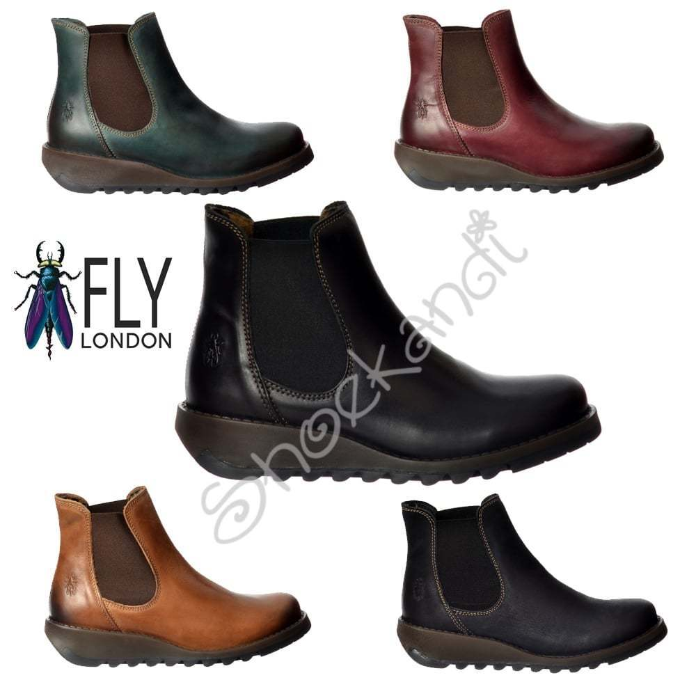 Damenschuhe Fly London Salv Leder Heel Chelsea Ankle Boot Niedrig Heel Leder Assorted Colours 74db0e