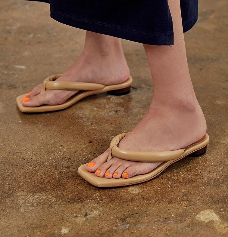 Handmade] Women Leather Thong Ginza Flip Flop Sandals Tabi Skin Mid Pumps shoes