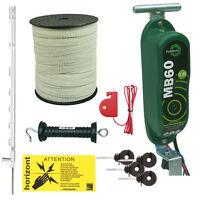 Electric Fence Kit - 12v Hotline Mb60 - 20 X 3ft Posts & 20mm Tape - White