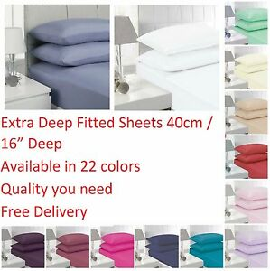 Non Iron Extra Deep Fitted Bed Sheets 40cm Single Double King