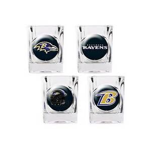 57e3473c5 Baltimore Ravens Shot Glass Set NFL 4 Glasses 2 oz Gift Player Retro ...