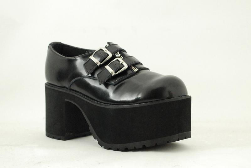 Grandes zapatos con descuento T. Y K a8662l Cuero Negro Cremallera 2 hebillas Nosebleed EVA SPLIT Stack