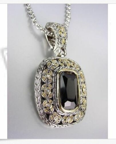 NEW Designer Style Balinese Silver Gold Black Onyx CZ Crystal Pendant Necklace