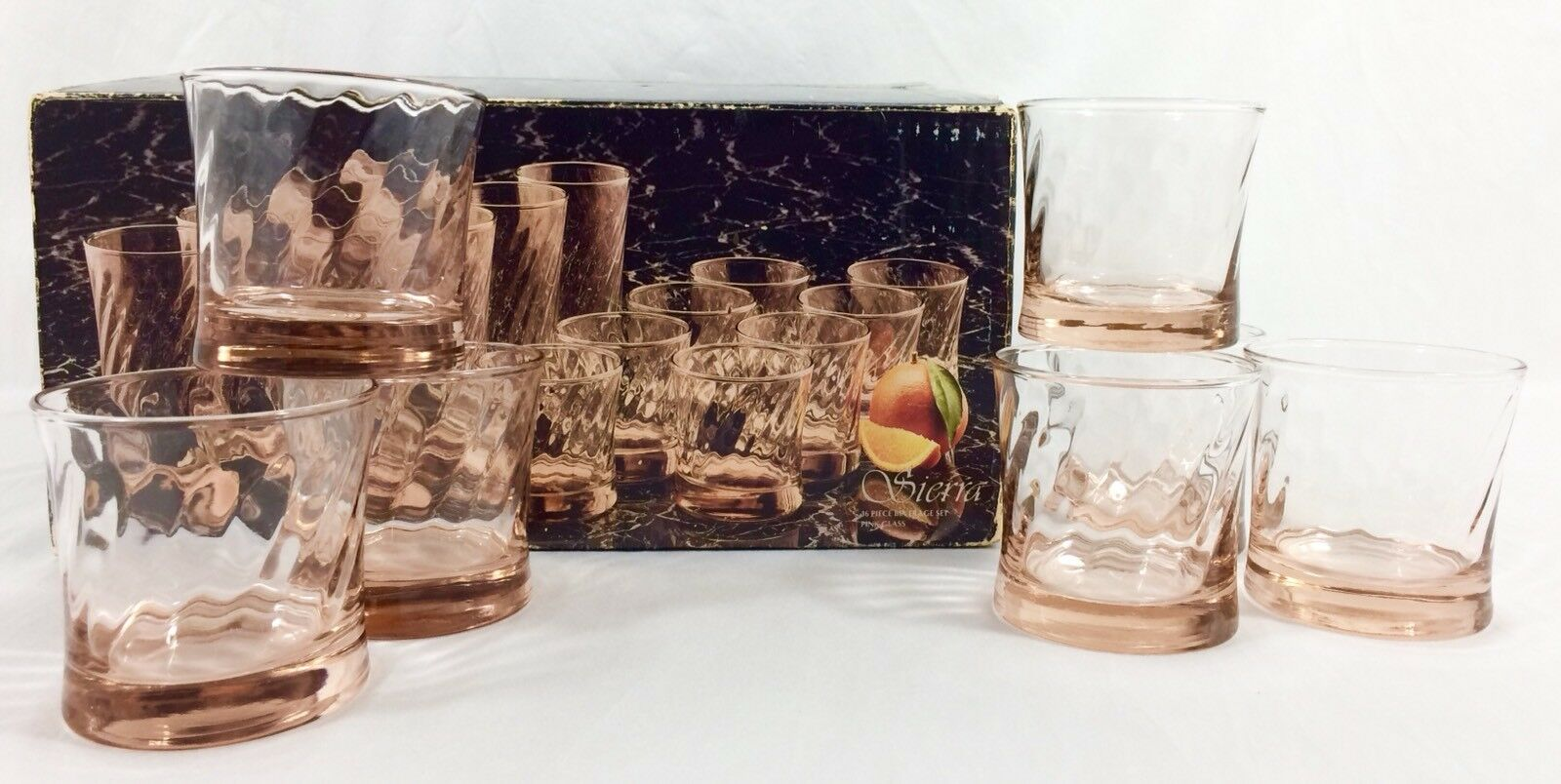 7 le toscany Collection Sierra rose optic Swirl Verres 10 oz (environ 283.49 g) Roches DOF USA RARE