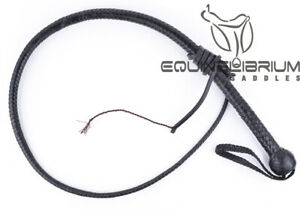 Equinelibrium-039-s-3-Foot-12-Plait-Black-Leather-Snake-whip-Self-Defence-whip