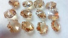 50 Champagne 14mm Snowflakes Chandelier Crystal Beads Prisms Suncatcher Cognac