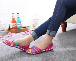 Women-Summer-Beach-Flat-Sandals-Open-Toe-Jelly-Colorful-Hollow-Up-Shoes-Size-New