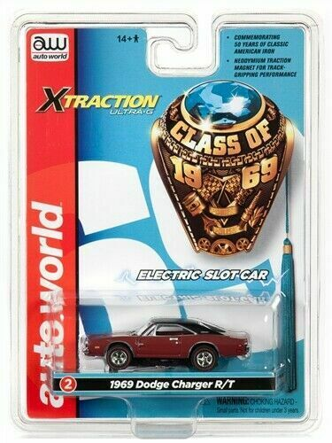 HO Slot Car X TRACTION Maroon Auto World Xtraction R27 1969 Dodge Charger
