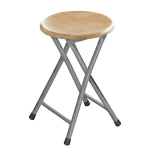 Pleasant Details About Round Folding Stools Small Kitchen Breakfast Bar Wooden Seat Chair Silver Frame Unemploymentrelief Wooden Chair Designs For Living Room Unemploymentrelieforg