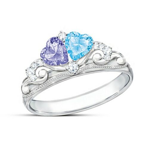 Luxury Rings White Gold Silver Two Tone Heart Natural Gemstone Ring UK!