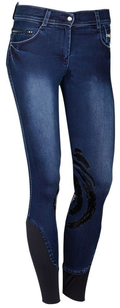 Harry's Horse Kinder Reithose Dirty Denim Denim Denim Silikon Grip Kniebesatz blau 776da6