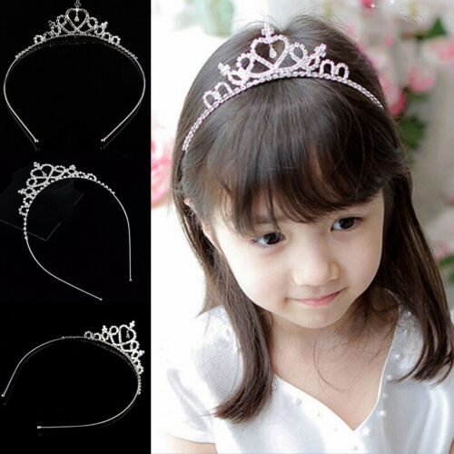 Girls Kid Hair Band Rhinestone Prom Princess Tiara Cute Hoop Gifts Crystal Decor