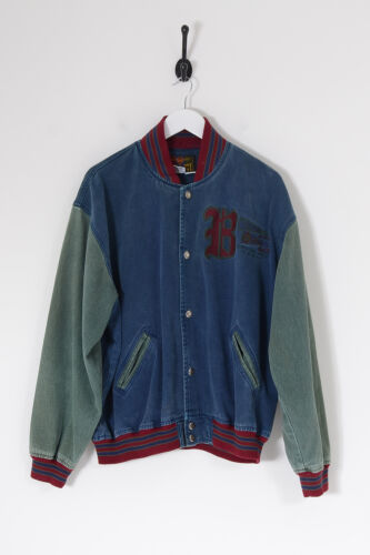 Vintage Men's Bugle Boy Denim Varsity Jacket Dark