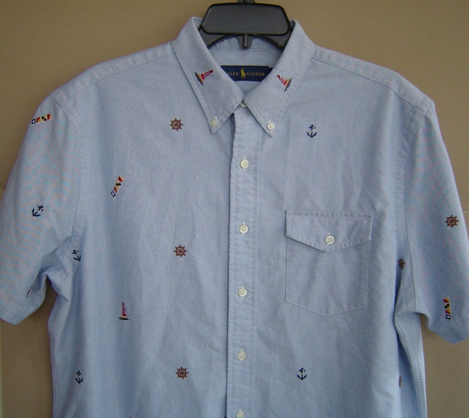 NWT  POLO RALPH LAUREN L EMBROIDERED COTTON OXFORD SHIRT Short Sleeve blueE
