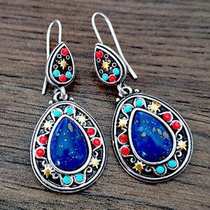 Blue-Women-Vintage-Jewelry-Ear-Hook-Elegant-Dangle-Drop-Gems-Earrings