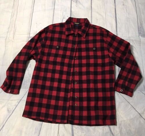 Classic Woolrich Plaid Red Black Wool Hunting Work