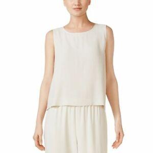 EILEEN-FISHER-NEW-Women-039-s-Bone-Petite-System-Silk-Shell-Blouse-Shirt-Top-PL-TEDO