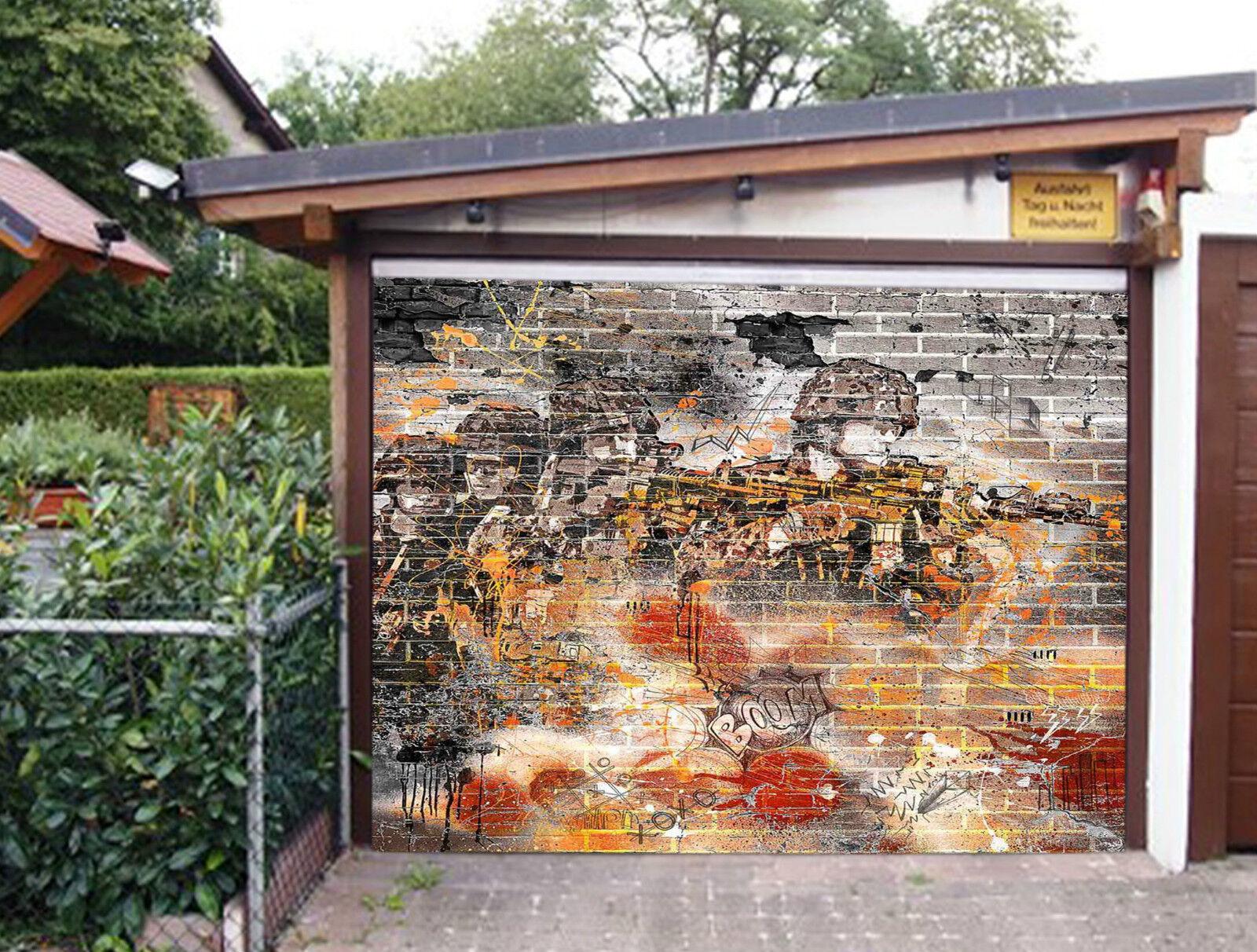 3D Graffiti Soldats 14 Garage Porte Peint en Autocollant Murale AJ WALLPAPER FR