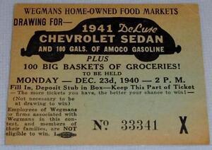 RARE 1940 Wegmans Home-Owned Food Markets Raffle Ticket Stub ROCHESTE... Lot 191