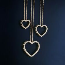 HN Jewels 1.35 Ct Simulated Diamond Heart Key Pendant 18 Chain Necklace In 14K Rose Gold Plated 925