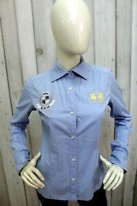 LA-MARTINA-Donna-Taglia-M-Camicia-Logo-Blu-Shirt-Casual-Cotone-Manica-Lunga