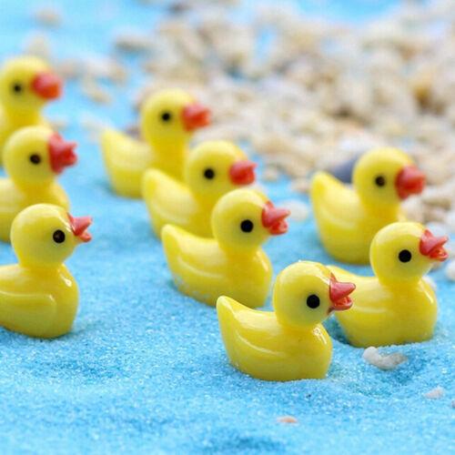 10x Miniature Resin Yellow Ducks Dollhouse Craft Fairy Garden Bonsai Decor DZQ