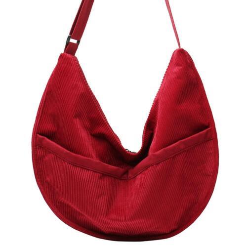 Fashion Pure Color Shoulder Handbags Women Korean Messenger Bag Corduroy Totes