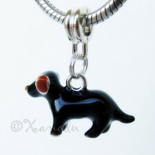 Black Brown Labrador Puppy Dog European Charm Bead For Charm Bracelets Necklaces